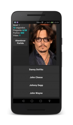 500 actores. Adivina el actor famoso. Johnny Depp